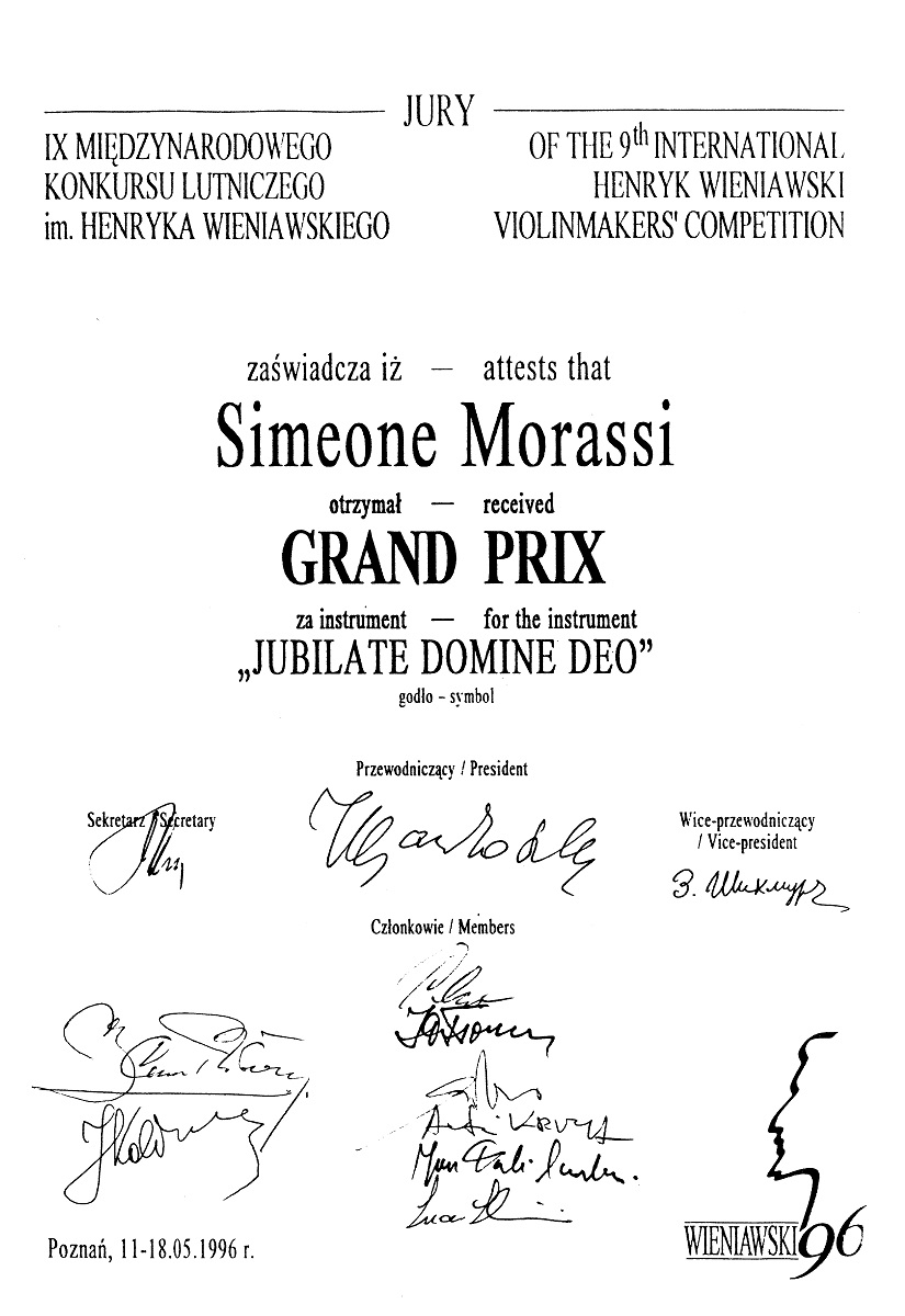 Reproduction of Simeone Morassi's diploma.