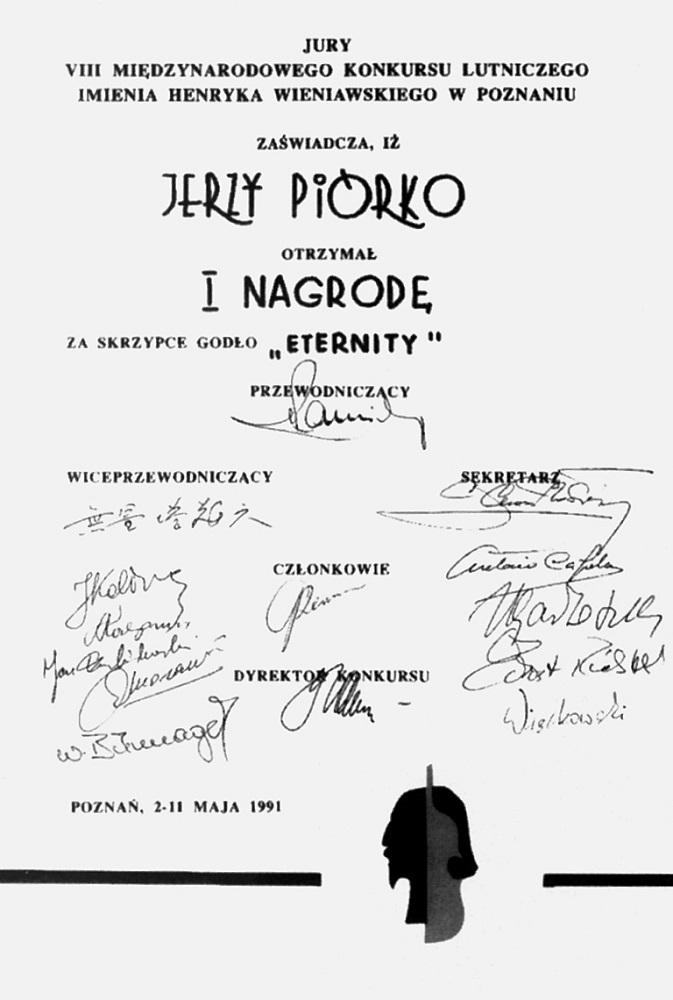 Reprodukcja dyplomu zwycięzcy konkursu – Jerzego Piórko.