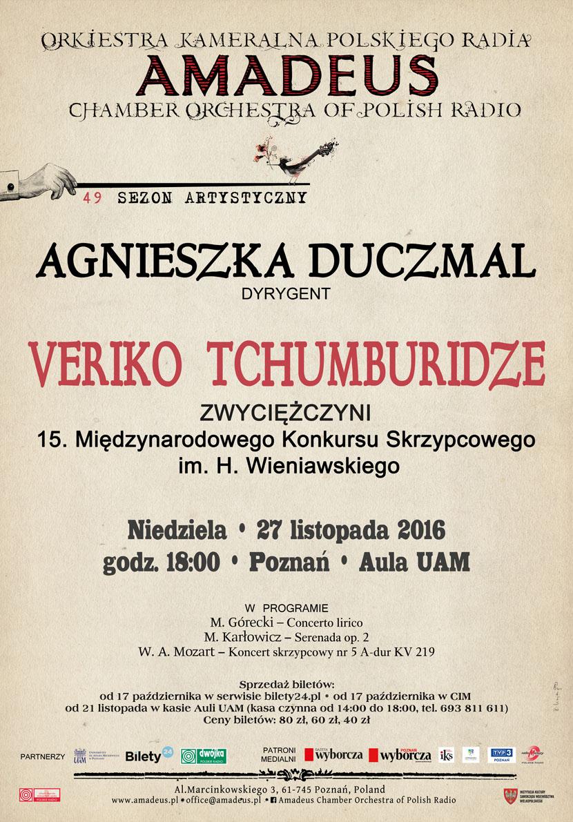 Nagroda Orkiestry Kameralnej Polskiego Radia Amadeus – koncert Veriko Tchumburidze w Poznaniu (27.11.2016)