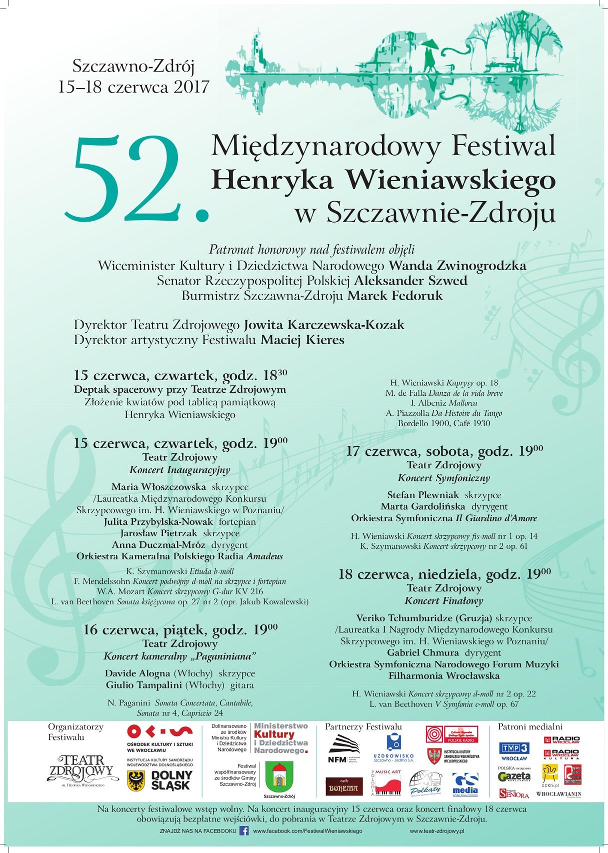 52. Międzynarodowy Festiwal Henryka Wieniawskiego w Szczawnie-Zdroju (15-18.06.2017)